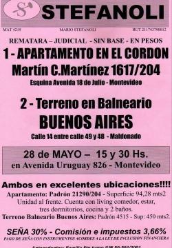 Apartamento en Cordón y Terreno en Balneario Buenos Aires