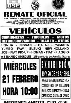 REMATE OFICIAL OSE - VEHICULOS