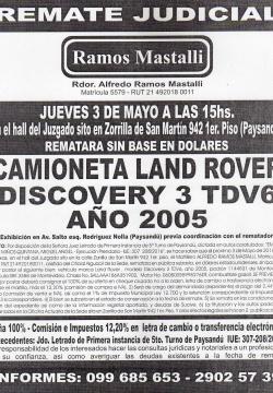 Camioneta Land Rover año 2005